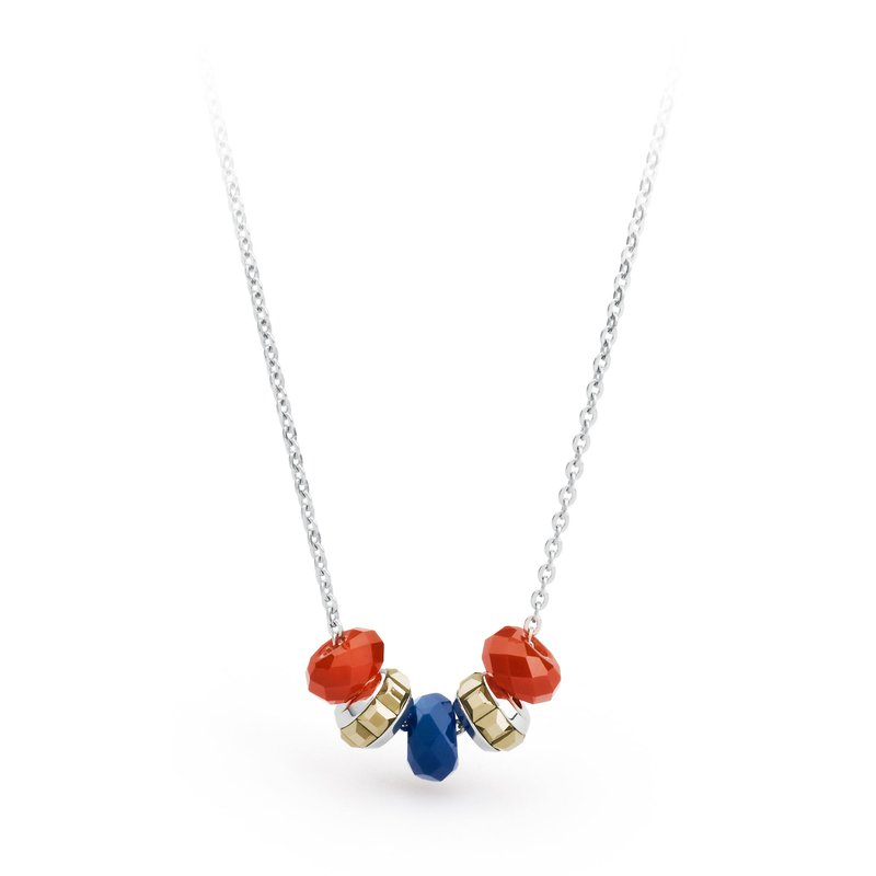 Brosway 316L stainless steel, red agate, blue agate and metallic light gold Swarovski® Elements crystals.