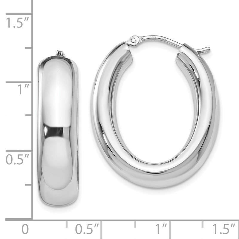 Leslie's Leslie's Sterling Silver Polished Oval Hoop Earrings