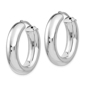 Leslie's Sterling Silver Polished Oval Hoop Earrings