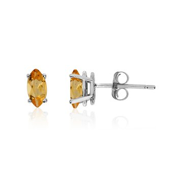 14k White Gold Citrine Marquise Earrings