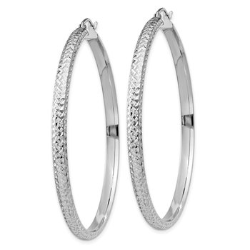 14K White Gold Diamond-cut 3.5x52mm Hollow Hoop Earrings