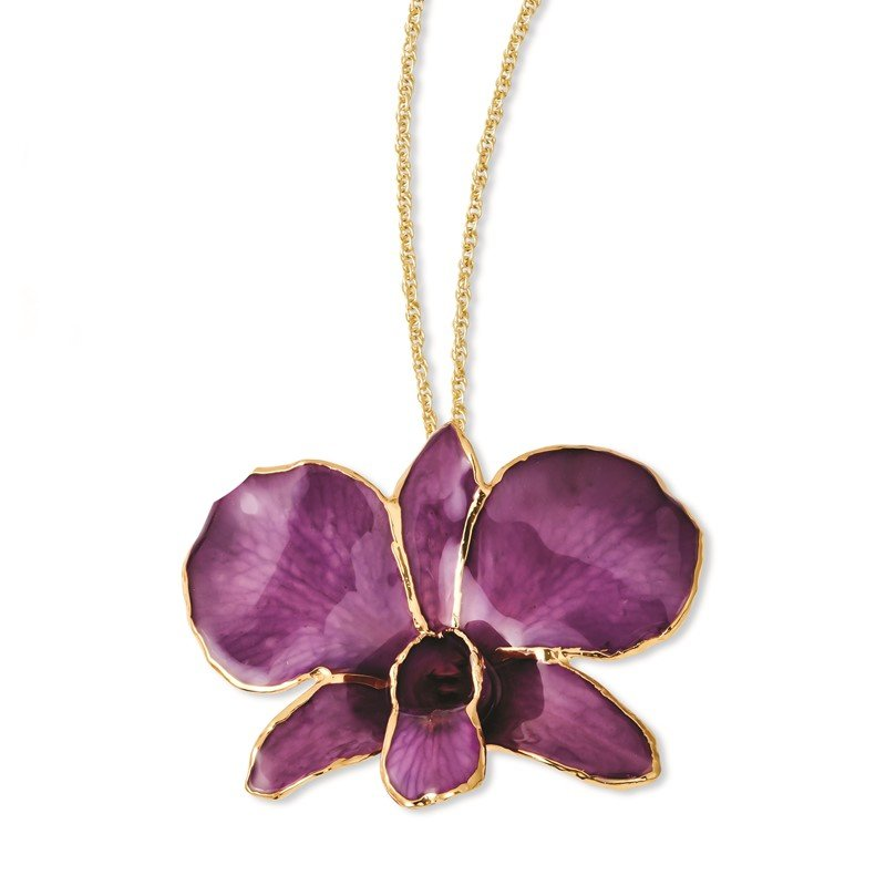 Quality Gold 24K Gold-trim Lacquer Dipped Purple Dendrobium Orchid Gold-tone Necklace