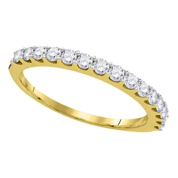 14kt Yellow Gold Womens Round Pave-set Diamond Single Row Wedding Band 1/2 Cttw