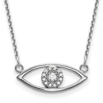 14k White Gold Small Necklace Diamond Evil Eye