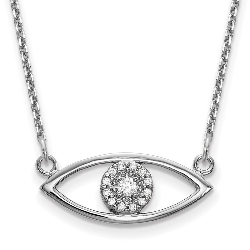 Quality Gold 14k White Gold Small Necklace Diamond Evil Eye