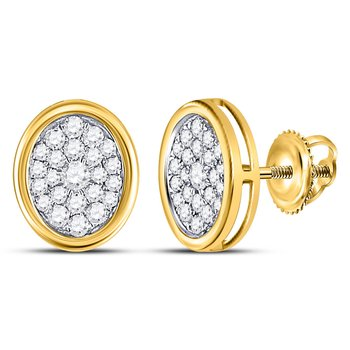 14kt Yellow Gold Womens Round Diamond Oval Cluster Earrings 3/4 Cttw