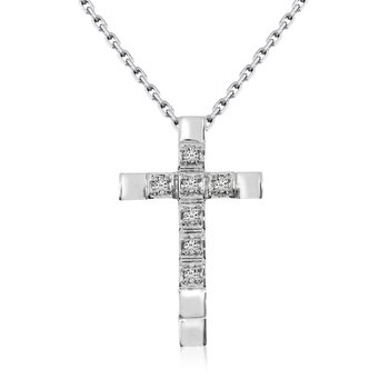 14K White Gold Straight Diamond Cross