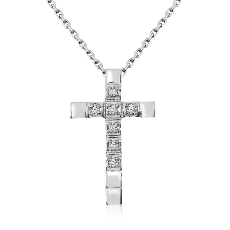 Color Merchants 14K White Gold Straight Diamond Cross