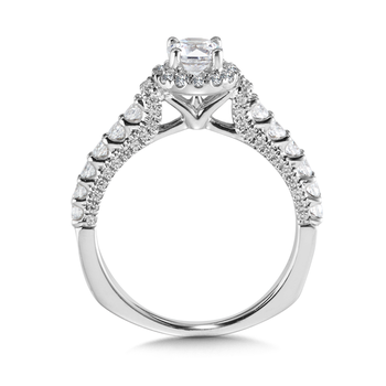 Halo Engagement Ring Mounting in 14K White Gold (.65 ct. tw.)