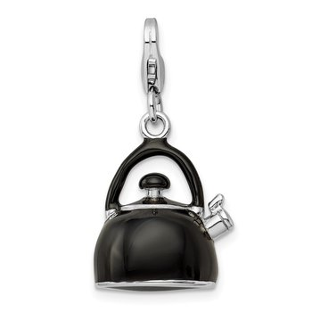 SS RH 3-D Enameled Black Tea Kettle w/Lobster Clasp Charm