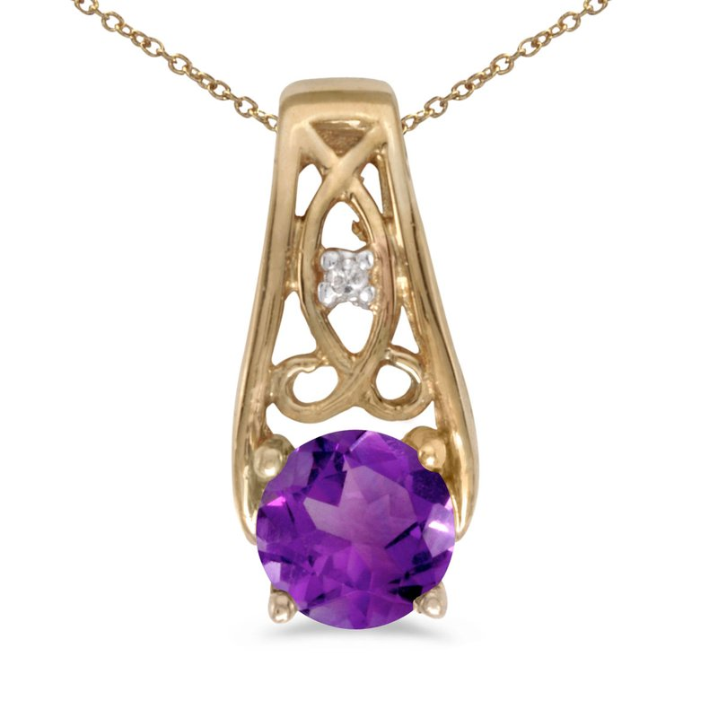 Color Merchants 10k Yellow Gold Round Amethyst And Diamond Pendant