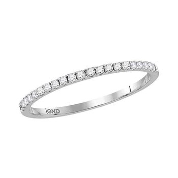 10kt White Gold Womens Round Diamond Slender Stackable Band Ring 1/6 Cttw