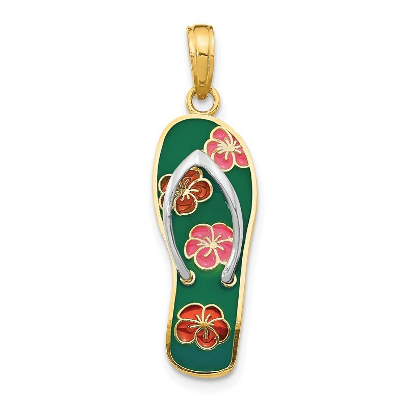 Quality Gold 14K Rhodium 3D Enameled Flowers On Green Flip Flop Pendant