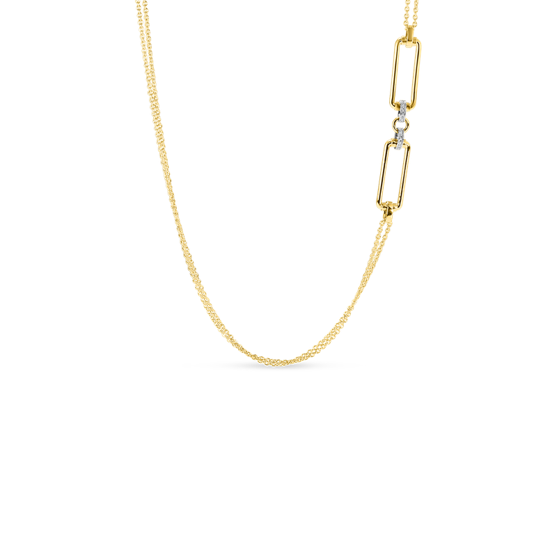 Roberto Coin  #28006 Of 18K Long Chain W. Rectangular Elements & Dia Accent