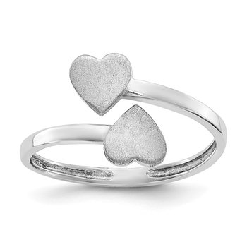 14k White Gold Double Heart Ring