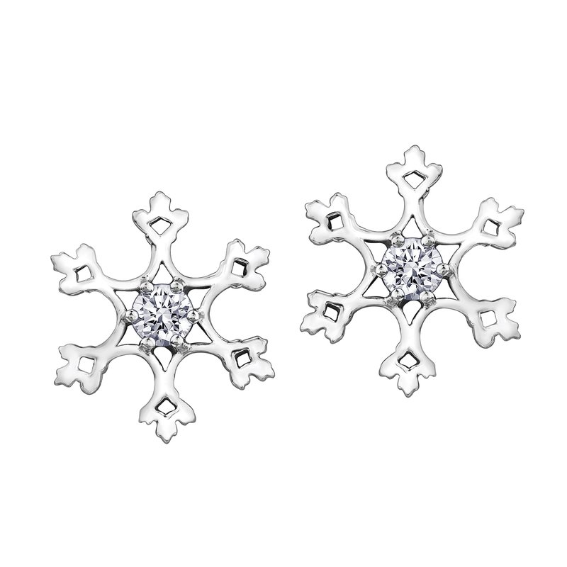 Timeless Beauty Maple Leaf Diamonds™ Winter Snowflake Studs
