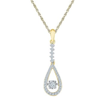 10kt Yellow Gold Womens Round Moving Twinkle Diamond Teardrop Pendant 1/5 Cttw