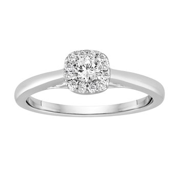 BLISS10: 14KW 1/4cttw Cushion Halo Engagement Ring