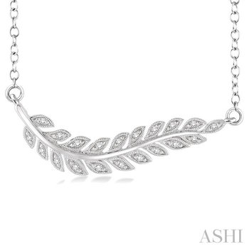 SILVER LEAF DIAMOND PENDANT