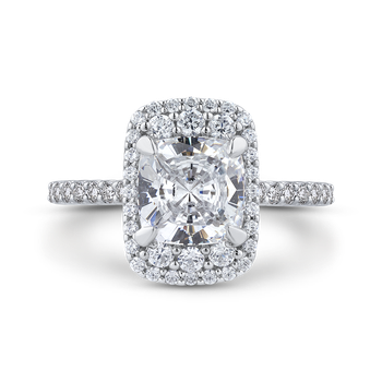 18K White Gold Cushion Cut Diamond Engagement Ring (Semi-Mount)