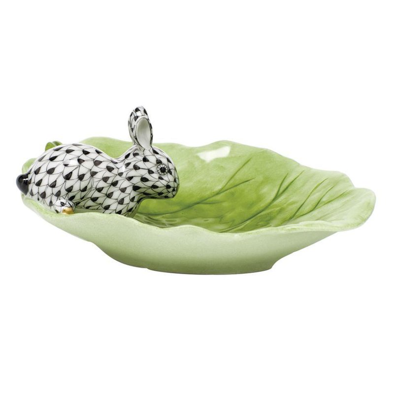 Herend Bunny on Cabbage Leaf - Black