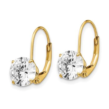 14k 7mm Cubic Zirconia Leverback Earrings