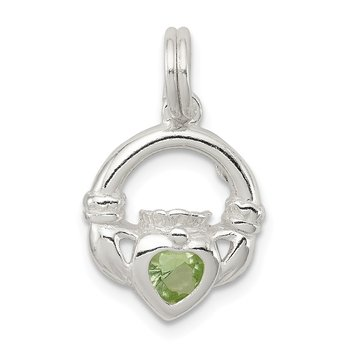 Sterling Silver Claddagh with Green CZ Charm