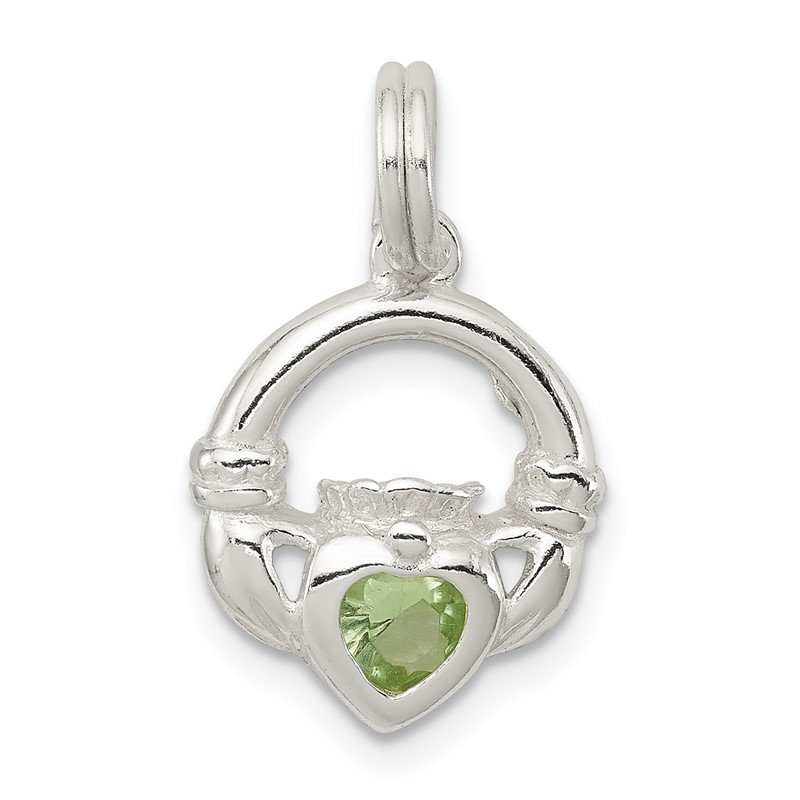 Quality Gold Sterling Silver Claddagh with Green CZ Charm