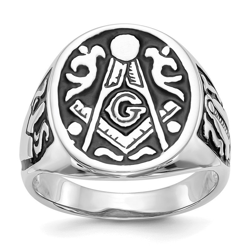 Quality Gold 14k White Gold Men's Masonic Ring