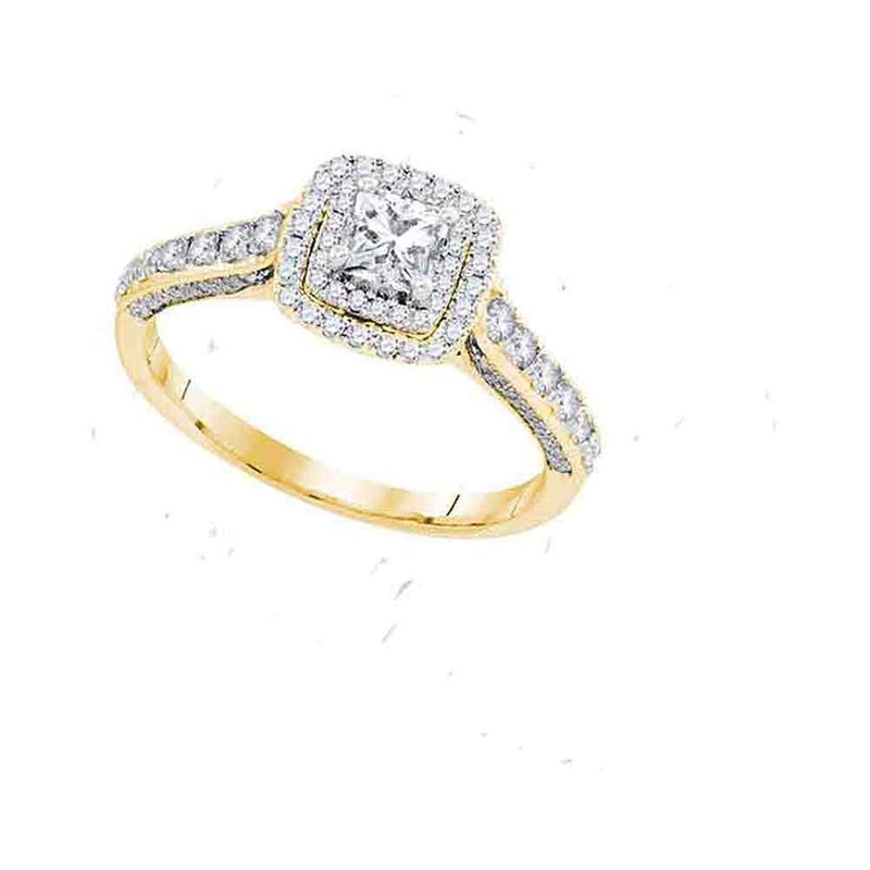 Gold-N-Diamonds, Inc. (Atlanta) 14kt Yellow Gold Womens Princess Diamond Solitaire Bridal Wedding Engagement Ring 1.00 Cttw Size 6 (Certified)