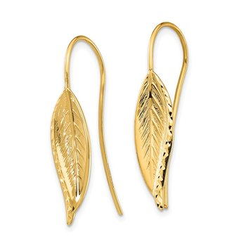 14k Diamond-Cut Dangle Leaf Earrings