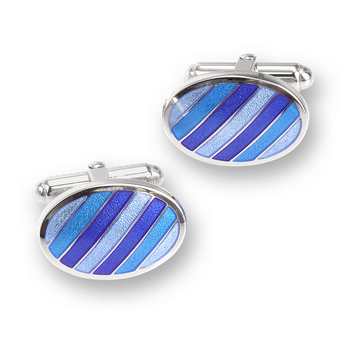 Blue Oval Stripes T-Bar Cufflinks.Sterling Silver