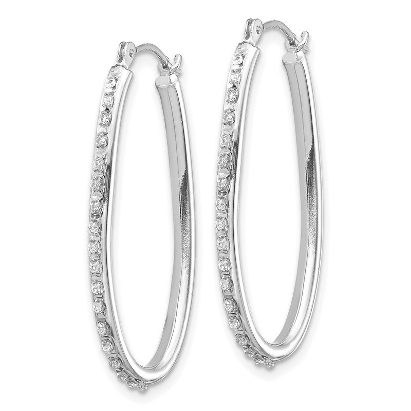 Quality Gold 14k White Gold Diamond Fascination Oval Hinged Hoop Earrings