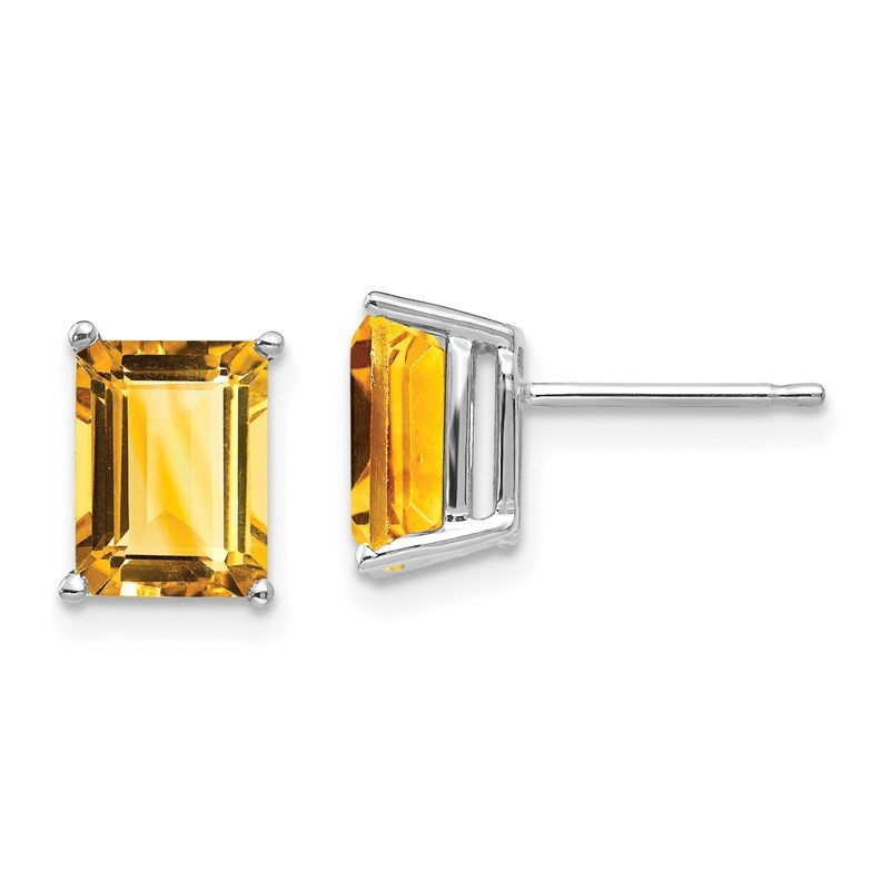 J.F. Kruse Signature Collection 14k White Gold 8x6mm Emerald Cut Citrine Earrings