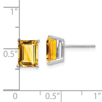 14k White Gold 8x6mm Emerald Cut Citrine Earrings