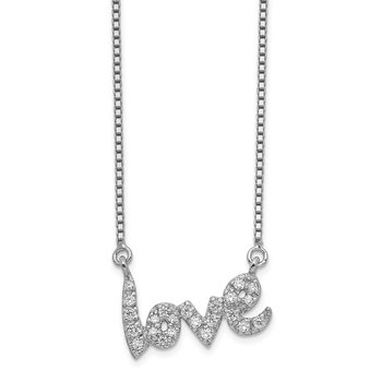 Sterling Silver Rhodium-plated w/CZ LOVE w/2in. ext. Necklace