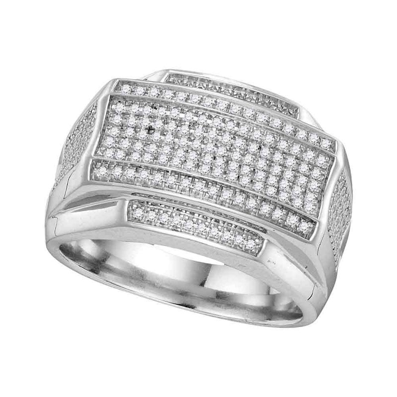 Gold-N-Diamonds, Inc. (Atlanta) 10kt White Gold Mens Round Pave-set Diamond Rectangle Cluster Ring 3/8 Cttw