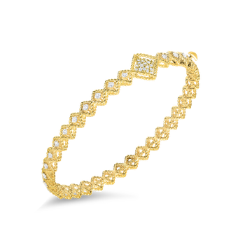 18Kt Gold Off-Center Diamond Station Bangle