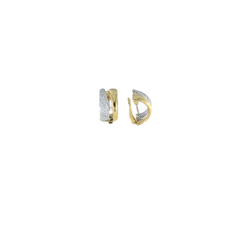 18KT GOLD 2 ROW DIAMOND EARRINGS