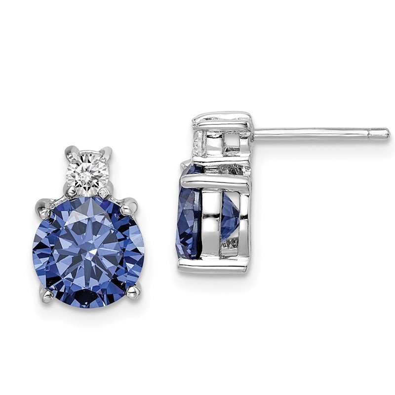 Quality Gold Sterling Silver Rhodium-plated Blue and White CZ Stud Earrings