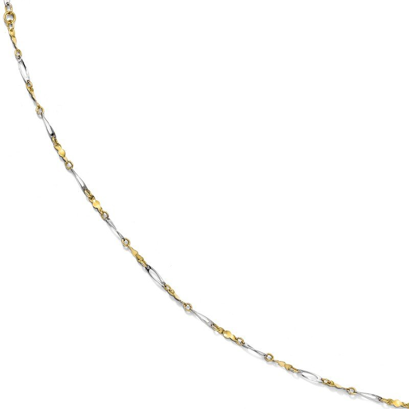 Leslie's Leslie's 10K Two-tone Polished Fancy Link 1in ext. Anklet