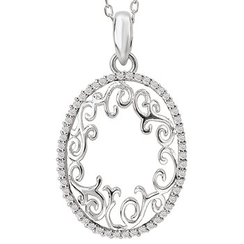 14kw Oval Diamond Pendant