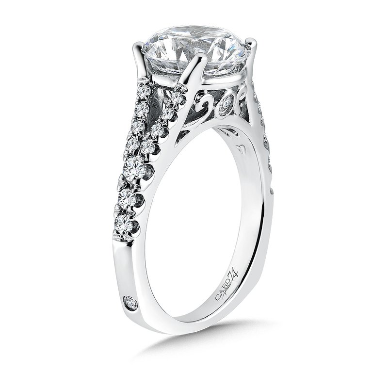 Caro74 Grand Opulance Collection Split Shank Engagement Ring in 14K White Gold (3-3/4 ct. tw)