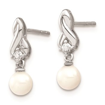Sterling Silver Rhodium-plated FW Cultured Pearl Diamond Earrings