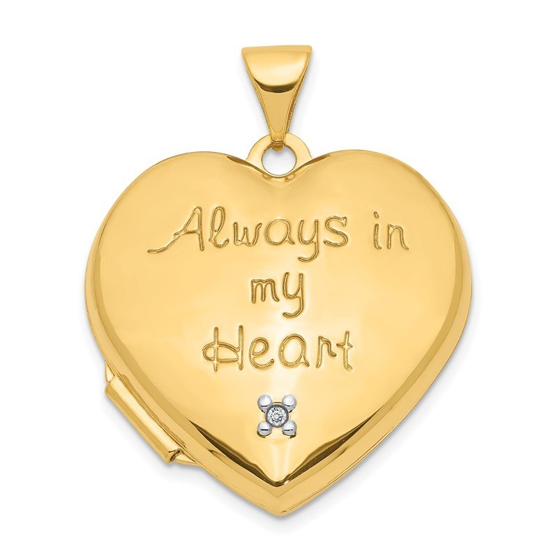 Quality Gold 14k 21mm Diamond Heart with Heart Charm Inside Locket