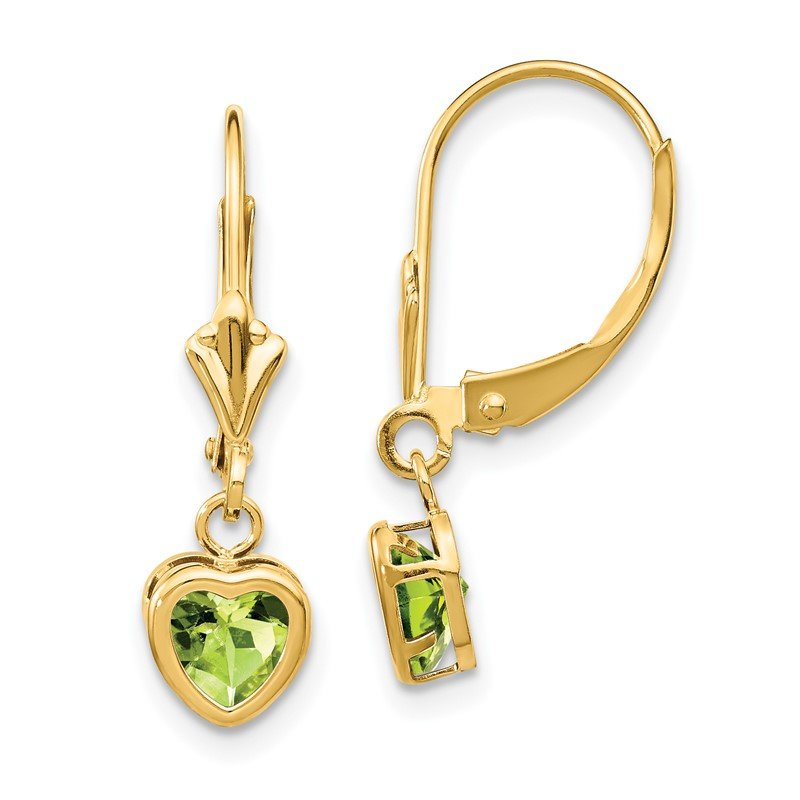 Quality Gold 14k 5mm Heart Peridot Earrings