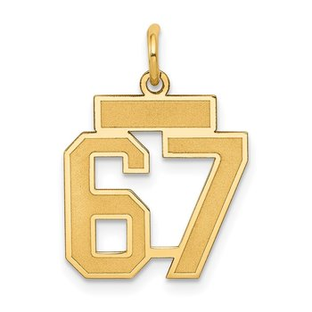 14k Small Satin Number 67 Charm