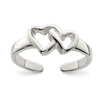 Sterling Silver Solid Heart Toe Ring