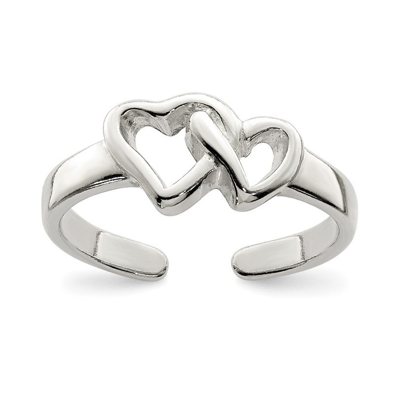 Quality Gold Sterling Silver Solid Heart Toe Ring