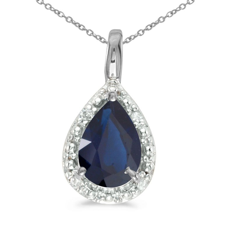Color Merchants 14k White Gold Pear Sapphire Pendant